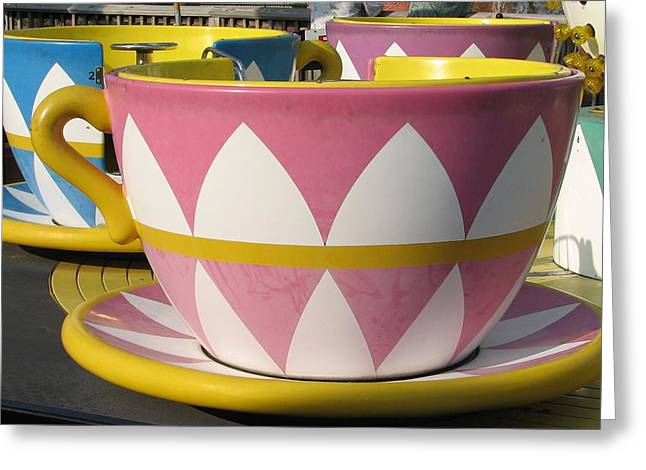 Pavilion Tea Cups Greeting Card by Kelly Mezzapelle