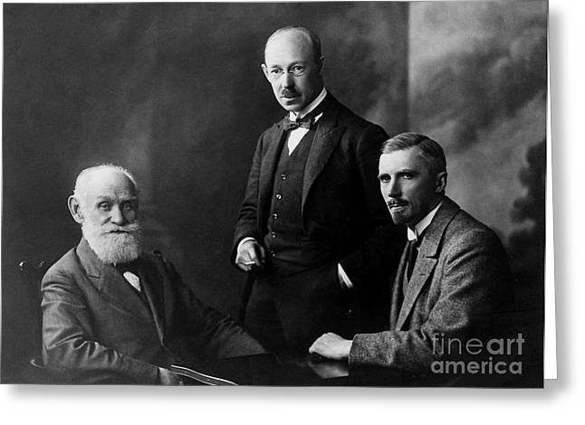 Pavlov, Anrep, Babkin Greeting Card by Wellcome Images