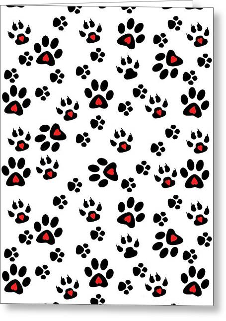 Paw Foot Prints Greeting Card