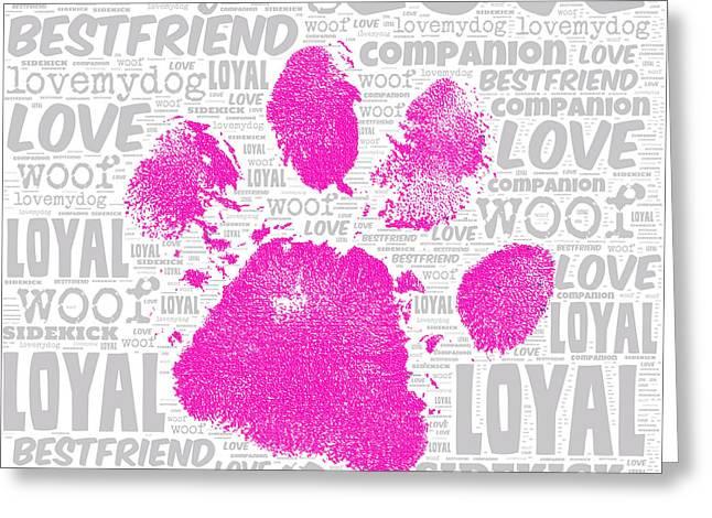 Paw Print Adopt Pink Greeting Card