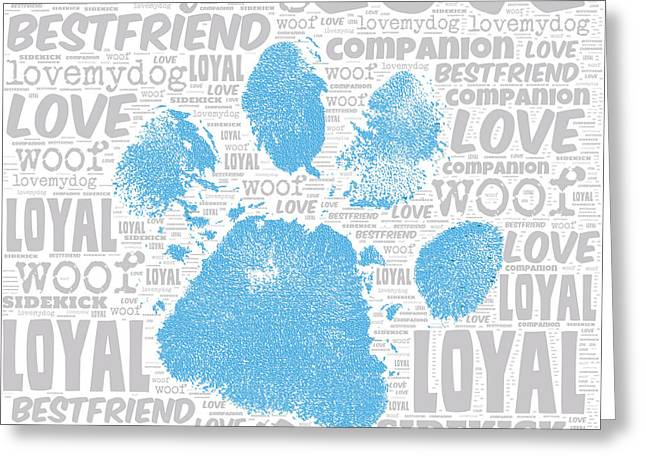 Paw Print Blue Greeting Card by Brandi Fitzgerald