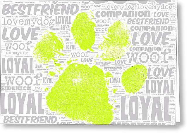 Paw Print Green Greeting Card by Brandi Fitzgerald