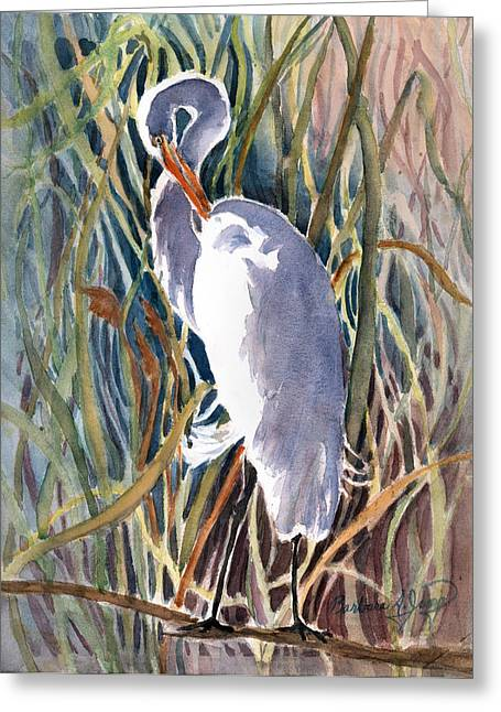 Water Fowl Mixed Media Greeting Cards - Pawleys Heron Greeting Card by Barbara Jung