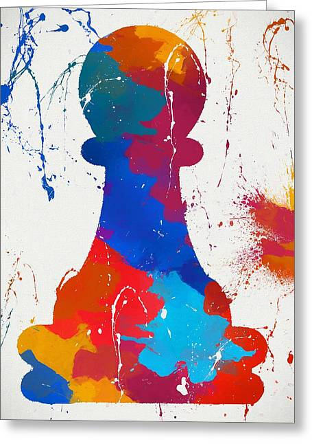 Pawn Chess Piece Paint Splatter Greeting Card by Dan Sproul