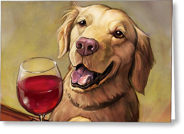 Paw'n For Wine Greeting Card by Sean ODaniels