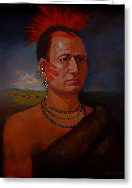 Pawnee Chief Around 1820 Greeting Card by Alan Carlson