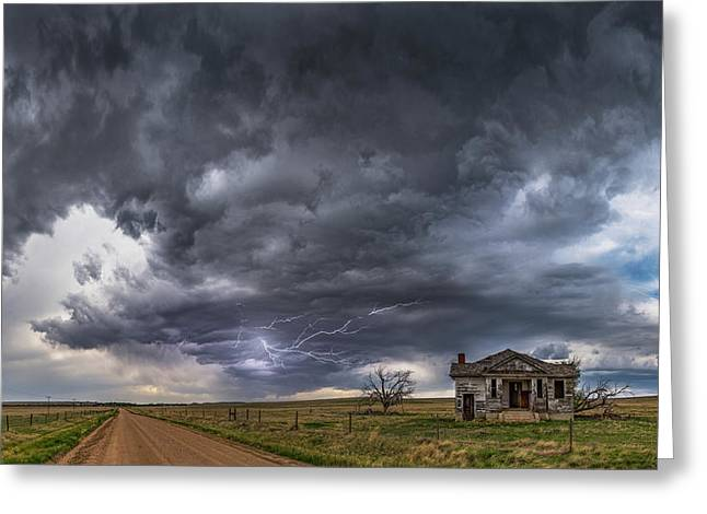 Greeting Card featuring the photograph Pawnee School Storm by Darren White