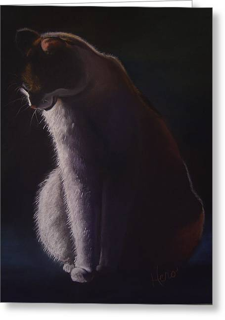 Pensive Pastels Greeting Cards - Paws for Reflection Greeting Card by Marcia  Hero