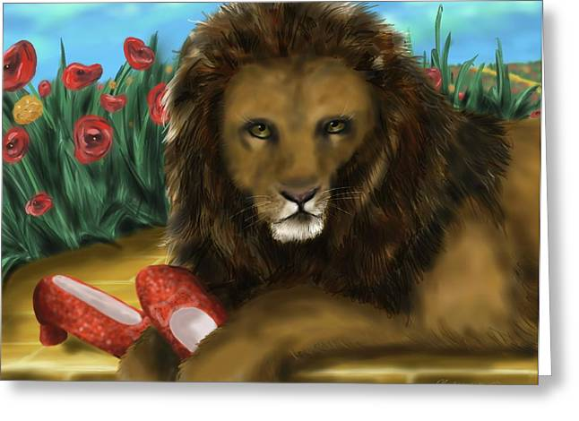 Greeting Card featuring the digital art Paws Off My Ruby Slippers by Meagan  Visser
