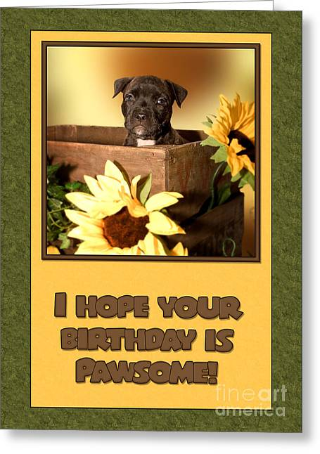 Greeting Card featuring the digital art Pawsome Birthday Pup by JH Designs