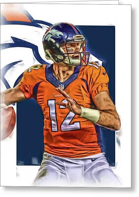 Paxton Lynch Denver Broncos Oil Art Greeting Card