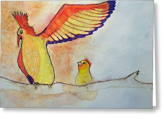 Greeting Card featuring the painting Pay Attention Kid by Patricia Arroyo
