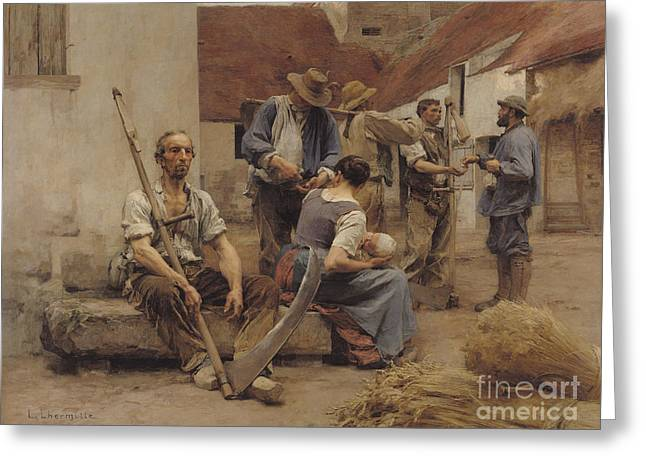 Paying The Harvesters Greeting Card
