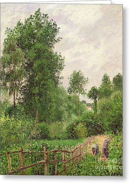 Paysage, Temps Gris A Eragny Greeting Card by Camille Pissarro