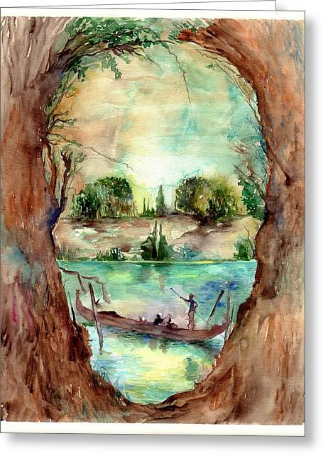 Paysage With A Boat Greeting Card