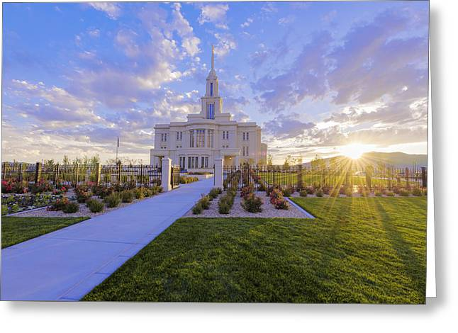 Payson Temple I Greeting Card by Chad Dutson