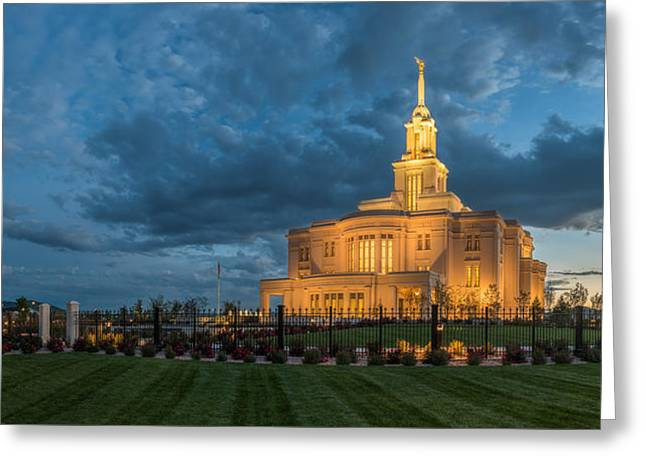 Payson Temple Panorama Greeting Card by Dustin  LeFevre