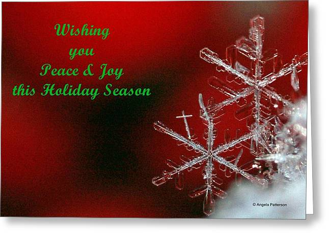 Peace And Joy Christmas Card Two Greeting Card by Angela Patterson