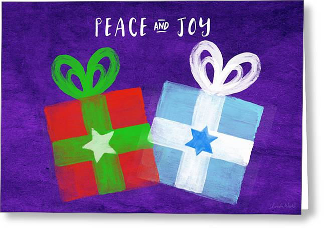 Peace And Joy- Hanukkah And Christmas Card By Linda Woods Greeting Card