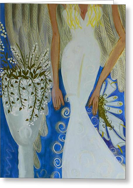 Peace And Love Angel Greeting Card by Helen Gerro