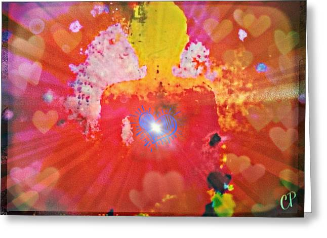 Peace And Love Meditation Greeting Card by Christine Paris