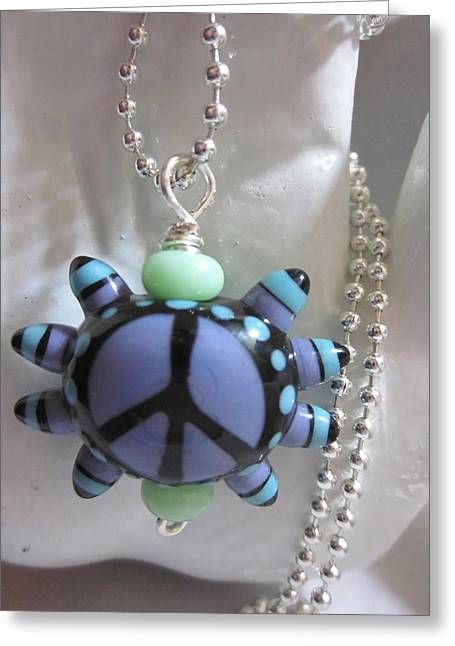 Blue Abstracts Jewelry Greeting Cards - Peace and Love Necklace Greeting Card by Janet  Telander