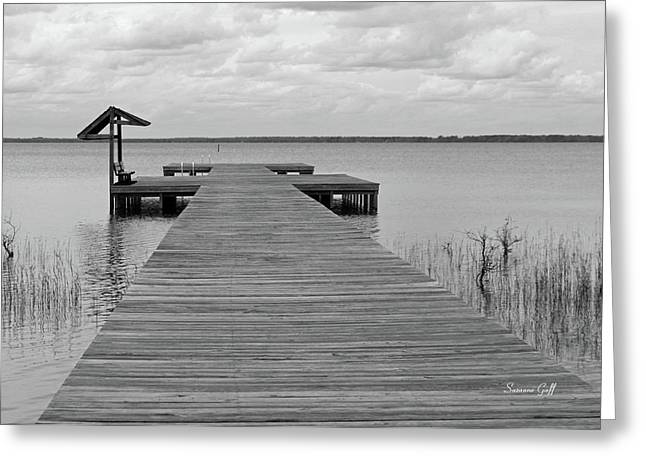 Peace And Serenity II-black And White Greeting Card