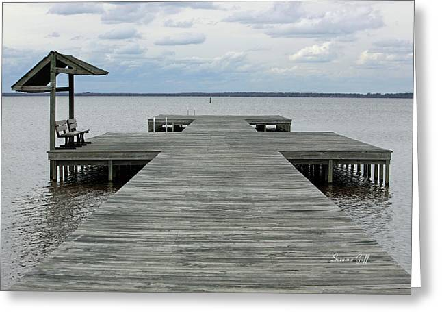 Wooden Dock Greeting Cards - Peace and Serenity Greeting Card by Suzanne Gaff