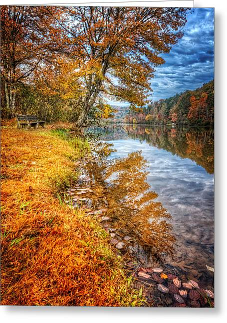 Peace At Fall Greeting Card by Debra and Dave Vanderlaan