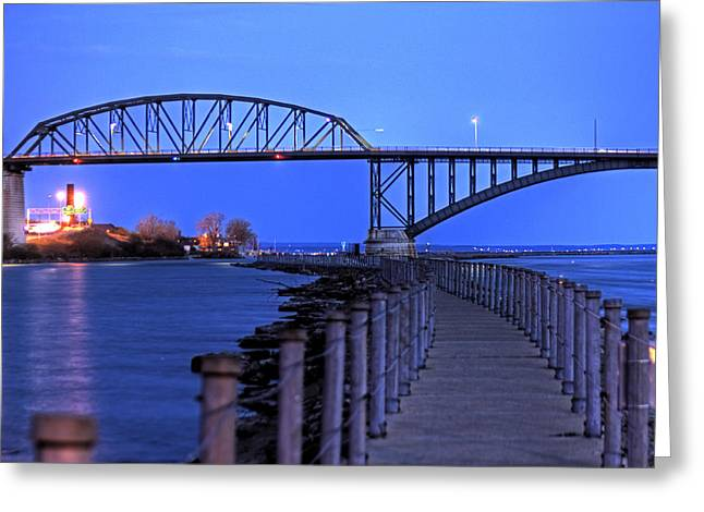 Peace Bridge From Nowak Pier Greeting Card by Don Nieman