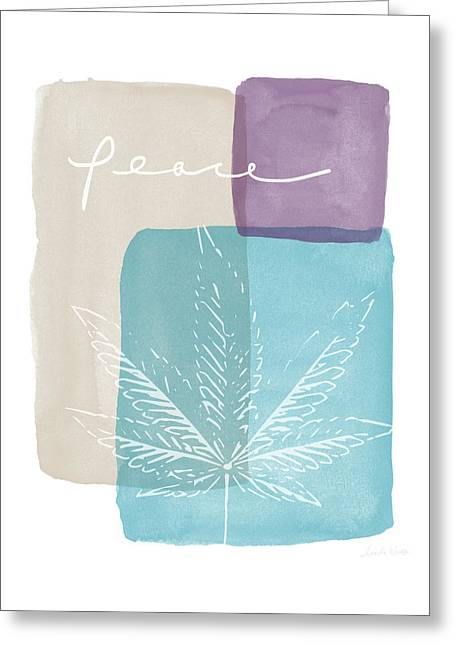 Peace Cannabis Leaf Watercolor- Art By Linda Woods Greeting Card