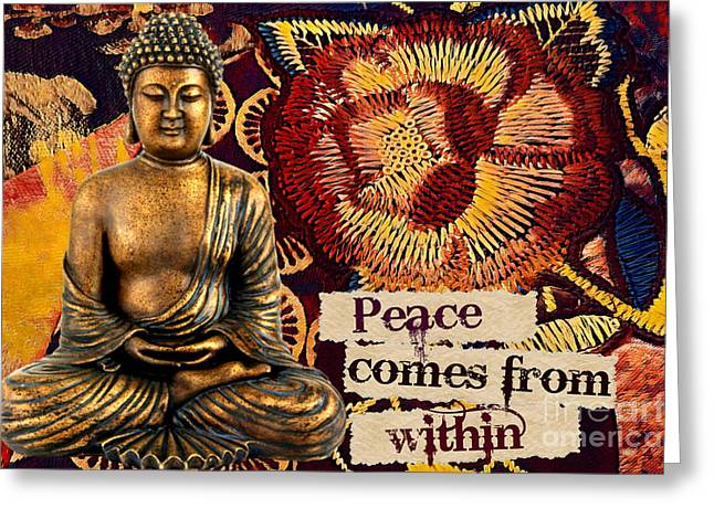 Peace Comes From Within. Buddha Greeting Card