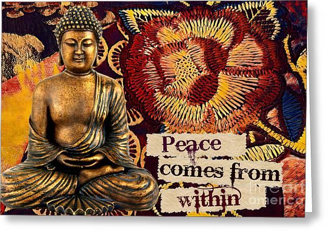 Greeting Card featuring the mixed media Peace Comes From Within. Buddha by Lita Kelley