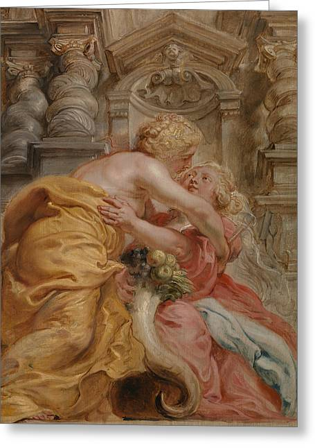 Peace Embracing Plenty Greeting Card by Peter Paul Rubens