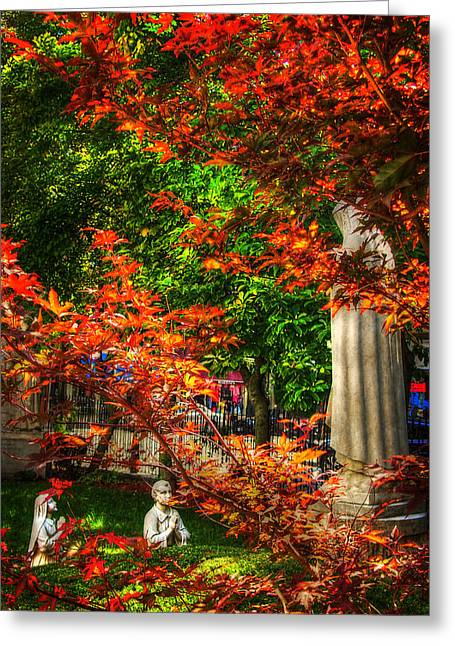 Peace Garden - St Leonard's Church - Boston Greeting Card by Joann Vitali