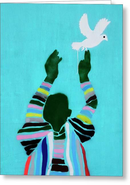 Peace Graffiti Greeting Card by Liz Pinchen