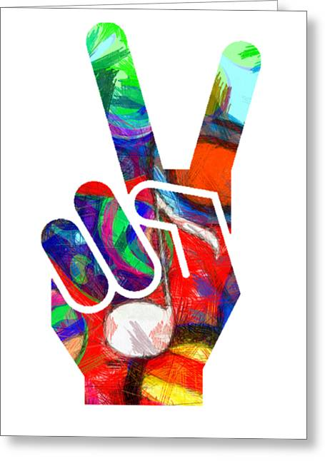 Peace Hippy Paint Hand Sign Greeting Card by Edward Fielding