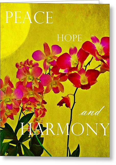 Peace Hope And Harmony Greeting Card