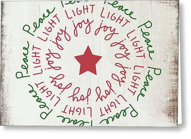Peace Light Joy Wreath- Art By Linda Woods Greeting Card