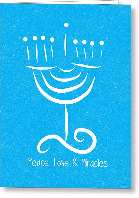 Peace Love And Miracles With Menorah Greeting Card by Linda Woods