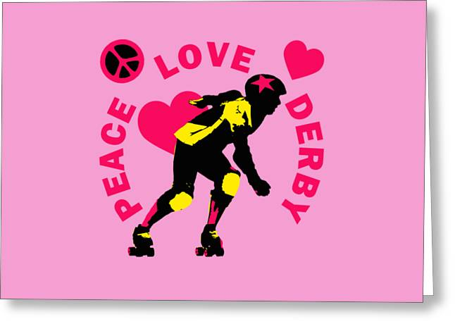 Peace Love Derby Greeting Card by David G Paul
