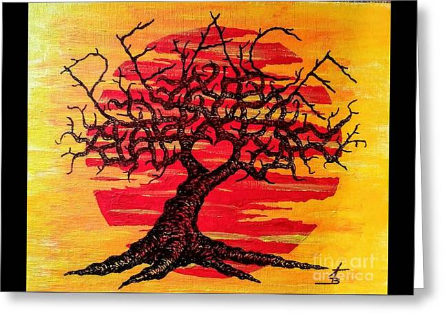 Greeting Card featuring the drawing Peace Love Tree by Aaron Bombalicki