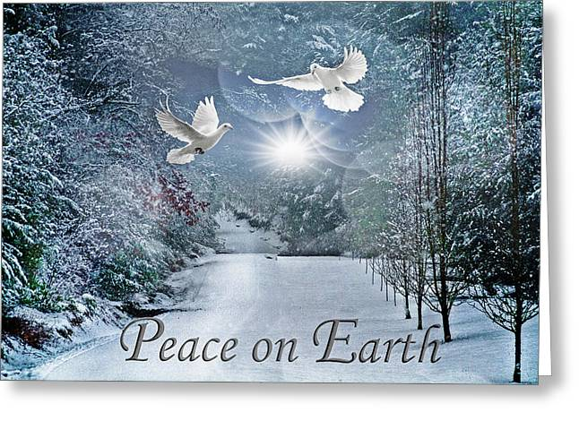 Peace On Earth At Christmastime Greeting Card by Debra and Dave Vanderlaan