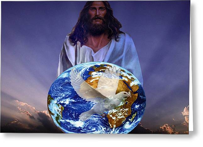 Peace On Earth Greeting Card by Evelyn Patrick
