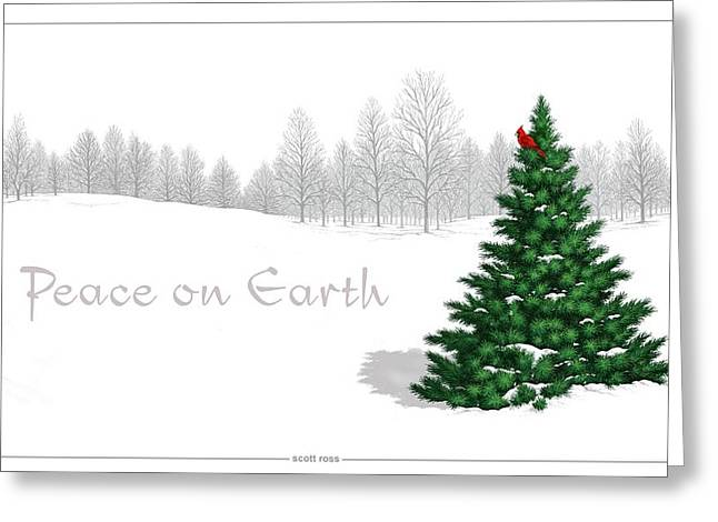 Greeting Card featuring the digital art Peace On Earth by Scott Ross