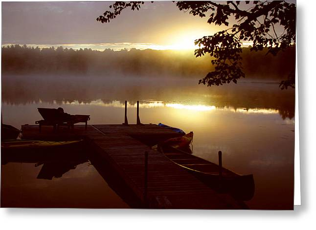 Peace On Lake Greeting Card by Dennis Curry