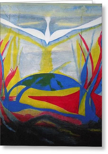 Peace Rising From Chaos Greeting Card by CB Woodling