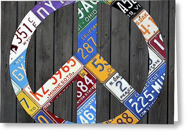 Peace Sign Recycled Vintage License Plate Art By Design Turnpike Greeting Card