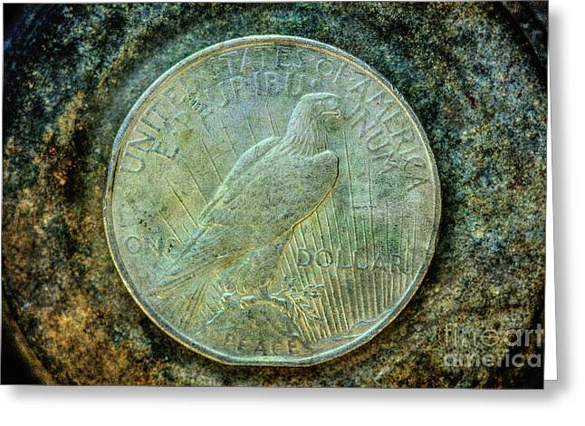 Peace Silver Dollar Reverse Greeting Card by Randy Steele