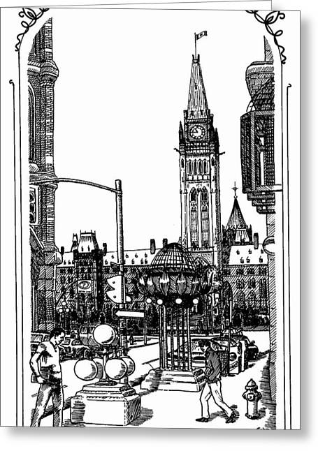 Peace Tower Parliament Hill Ottawa 1995 Greeting Card by John Cullen